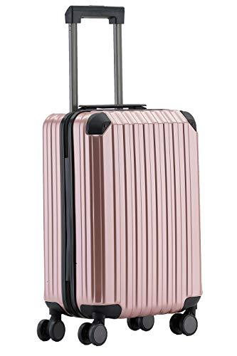 Münicase M816 TSA-Schloß Koffer Reisekoffer Trolley Kofferset Hardschale Boardcase Handgepäck (Rosagold, Kleiner Koffer)