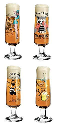 Dekomiro Ritzenhoff Beer - Set di 4 bicchieri da birra con 5 sottobicchieri in vetro, collezione primavera 2018