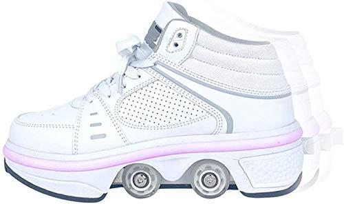 Barm Rollschuhe, Quad-Rollschuhe mit LED-Licht, 2-in-1-Mehrzweckschuhe, Wanderschuhe Allrad-Skates Outdoor-Parkour-Flaschenzugschuhe für Damen, UK4