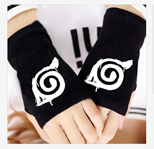 N /A Naruto Handschuhe,Naruto Kakashi Hatake Konoha Handschuhe Cosplay Zubehör, Black Konoha Schwarze Gloves Handschuhe