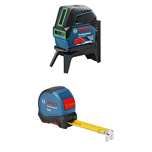 Bosch Professional GCL 2-15 G Kombilaser (3x 1,5 V Batterien, grüner Laser, in Handwerkerkoffer) + Bosch Professional Maßband (Bandlänge: 5 m, Bandbreite: 27 mm, in Blister)
