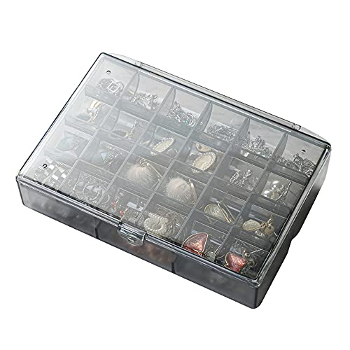 Caja de joyería de 30 rejillas, collar de pendientes a prueba de agua, pinzas para el cabello, organizador de almacenamiento, caja de contenedor de compartimento portátil de plástico