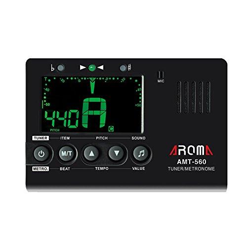 ammoon Aroma AMT-560 Elektro-Tuner und Metronom, integriertes Mikrofon, Aufnahme mit 6,3 mm, Kabel für Chrom-Gitarre, Bass, Violine, Universal-Ukulele