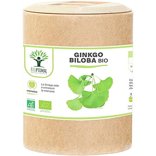 Ginkgo Biloba bio - Bioptimal - Complément alimentaire - Mémoire Concentration Circulation Vertige - Poudre de Feuille Pure - 250mg par Gélule - Fabriqué en France - Certifié par Ecocert - 200 gélules