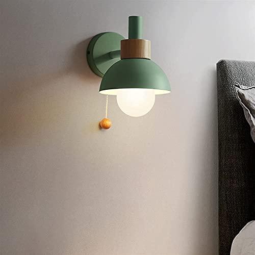 Kioiien Aplique de Pared Lámpara de Pared escandinava Minimalista Moderna Luz Nórdica Macaron Metal Acabado de Madera E27 Aisle Dormitorio Minimalista Dormitorio Moderno Lámpara de Pared