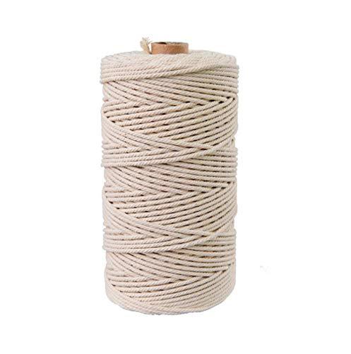 Cuerda de algodón natural de 2 mm/5 mm, 200 m, cuerda de macramé, envoltura de regalo, cinta de cordón, cuerda de lavar, tendedero, manualidades, joyería, Color natural., 5 mm