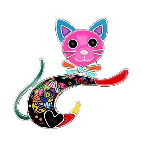 CLEARNICE Esmalte Aleación Dibujos Animados Gato Gatito Broches Lindo Animal Ropa Bufanda Decoración Pin Joyería para Mujeres Niñas Mascotas Amantes Regalo