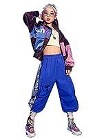 キッズ ダンス 衣装 ヒップホップ ジャケット パンツ ボーイズ ガールズ ジャズ ダンス 衣装 セットアップ ジュニア 子供服 男の子 女の子 hiphop 体操服 発表会 練習着 野球 運動着 (ジャケット+パンツ,110)
