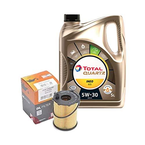 Olio motore per auto TOTAL QUARTZ INEO ECS 5W30 5l e Filtro olio CHAMPION