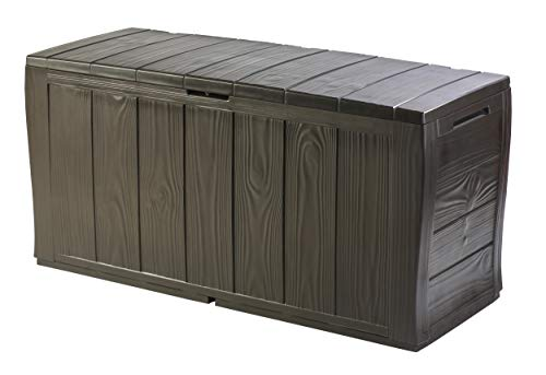 An image of the Keter Sherwood Outdoor Plastic Storage Box Garden Furniture, 117 x 45 x 57.5 cm - Brown