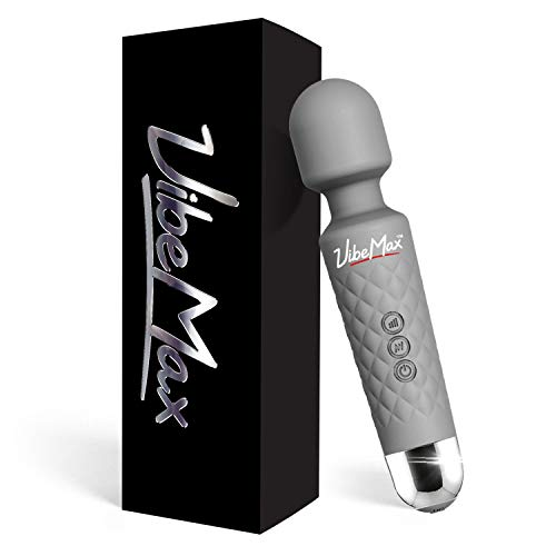 Rechargeable Handheld Personal Wand Massager by VibeMax: Wireless & Waterproof - Powerful Multi Speed Vibration - Whisper Quiet - Cordless - Mini - Light Grey