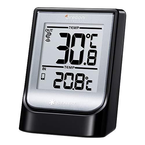 Oregon Scientific EMR211X - Termómetro con función bluetooth, temperatura interior y exterior, 5 canales, alerta hielo, negro, gris, blanco