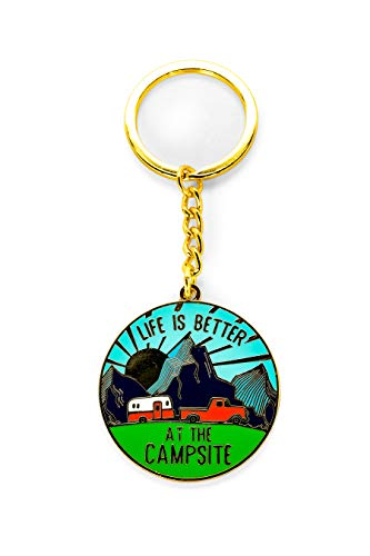 Camco Life is Better at The Campsite Sunrise Keychain-Gold Ring...