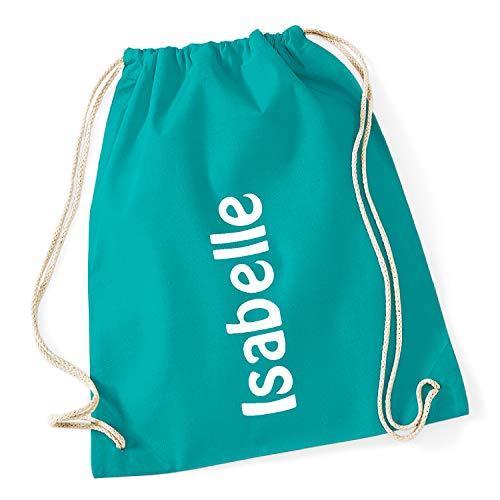 freitex Turnbeutel/Gymsack/Sportbeutel mit Namen Bedruckt (Emerald)