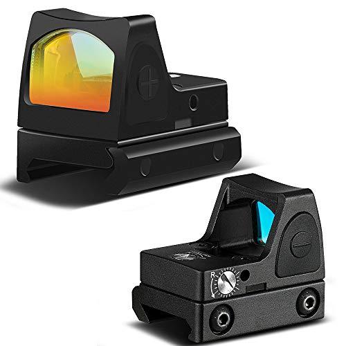 MASALING Tactical RMR Red Dot Sight 20mm Reflex Sight Pistol Handgun Shunting Red Dot für Jagd Softair Pistole 2 MOA Reflexvisier Einstellbare Helligkeit Pistolen-Bereich mit Berg