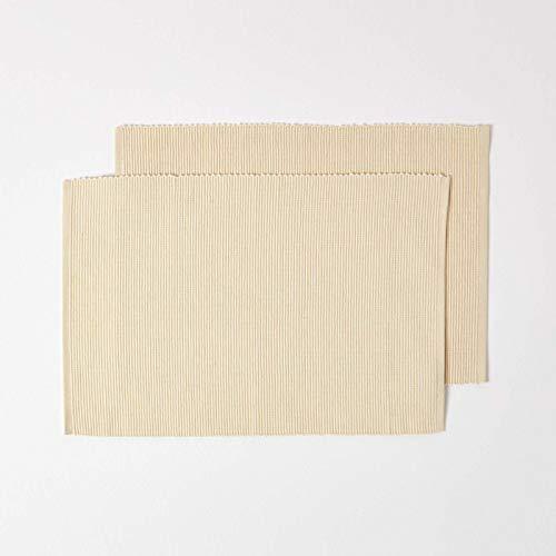 HOMESCAPES Set de Table en Coton Lot de 2, Linge de Table uni Crème, 30 x 45 cm
