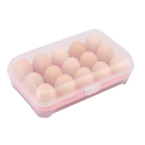 Chytaii Eier-Box, Aufbewahrungsbox mit Halterung für Eier, für Lebensmittel, aus Kunststoff, zum Aufheben von Eiern in Kühlschrank, in der Küche Rose
