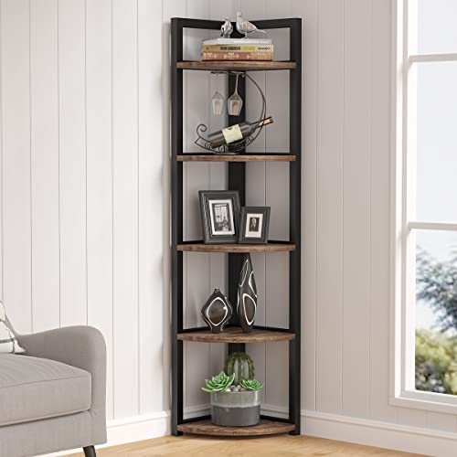 Tribesigns 5 Tier Corner Shelf, Rustic Corner Bookshelf Small Bookcase Storage Rack Plant Stand for Living Room, Home Office, Kitchen, Small Space (Brown)