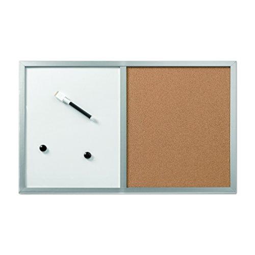 Herlitz 10685394 Pinnwand und Magnettafel, 40x60cm mit Holzrahmen, Farbe silber