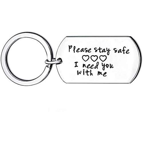 Blijf Alsjeblieft Veilig Ik Heb Je Nodig Bij Mij RVS Sleutelhanger Key Ring Voor Koppels Verjaardag Christmas Gift,A
