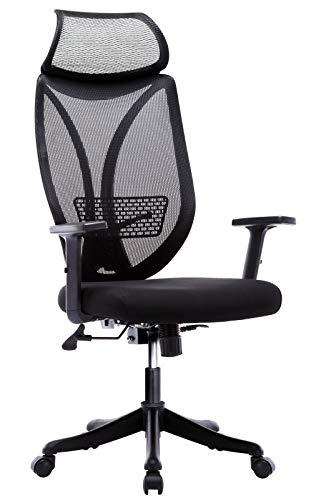 IntimaTe WM Heart Sedia da Ufficio ergonomica con Schienale Lock, Regolabili 110 ° con Supporto Testa e Supporto Lombare, 2D braccioli N010,Nero
