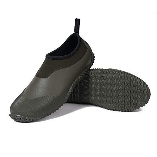 Unisex Garden Shoes Ankle Rain Boots Waterproof Mud Muck Rubber Slip-On Shoes for Women Men Outdoor (Army Green, 9.5 Women/8 Men)