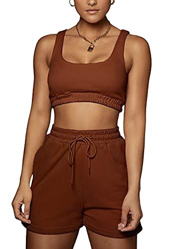 Dghisre 2Pcs Women Tracksuit Sleeveless Short Set Outfits Crop Tank Top + High Waist Shorts Yoga Workout Summer Clothes Sets (K