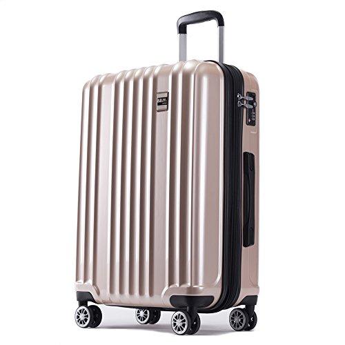 スーツケース 機内持ち込み SS 中型 M 大型 L サイズ 軽量 ファスナー TSAロック搭載 キャリーバッグ AKTIVA (小型、機内持込み、SS, シャンパンゴールド)