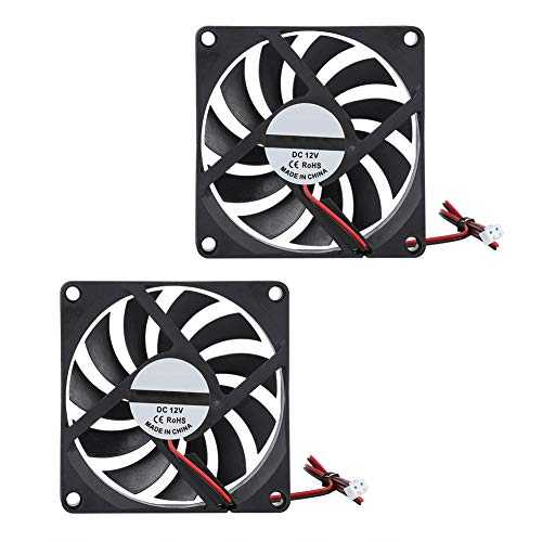 Tangxi 2Pcs 3D Printer Fan, 80x80x10mm 3D Printer Ventilador de enfriamiento,DC 12V 6000RPM 21.46CFM Super Quiet 8010 Fan para CR-10 Impresora 3D