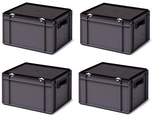Transport-Stapelboxen-Set (4 St.) /Lagerbehälter, KTK 400/210-0, grau, mit schwarzem Verschluß-Deckel, Abm. 400x300x221 mm (LxBxH)