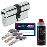 ToniTec Set aus ABUS Sicherheitsschloss Schließzylinder Profilzylinder XP20 XP20S mit Sicherungskarte 28/34 und ToniTec Pflegespray