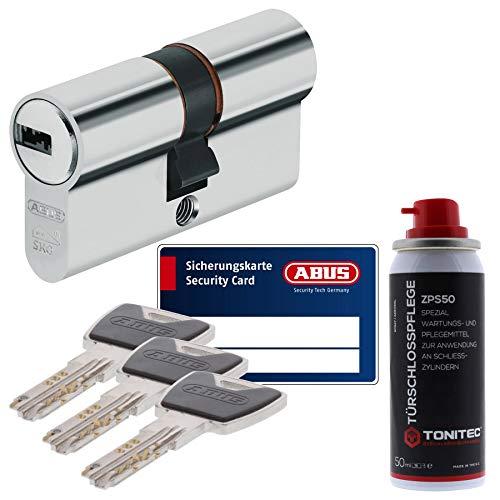 ToniTec Set aus ABUS Sicherheitsschloss Schließzylinder Profilzylinder XP20 XP20S mit Sicherungskarte 30/45 und ToniTec Pflegespray