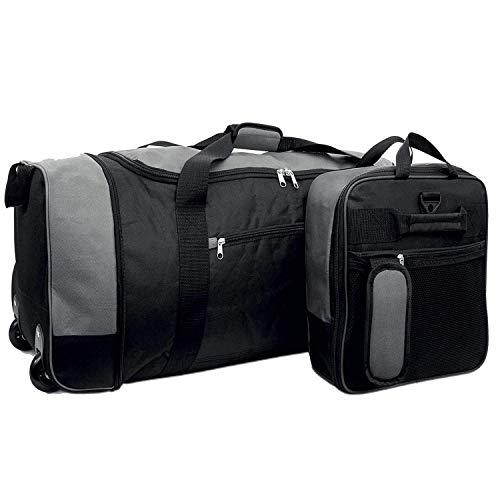 """32 """" Extra Large Holdall On Wheels, Lightweight Suitcase Travel Wheeled Holdall XL Duffle Bag Luggage (Black & Grey)"""