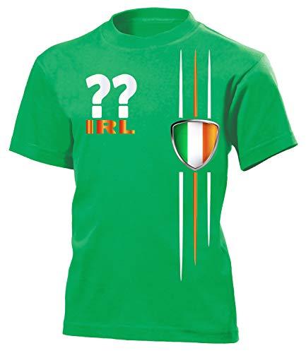 Irland Ireland Wunsch Zahl ohne Name Fan t Shirt Artikel 4471 Fuss Ball Kinder Kids Jungen Mädchen EM 2020 WM 2022 Trikot Look Flagge 152