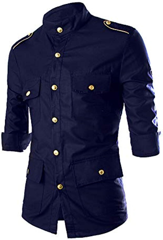 6a5b24c0e Men's Shirt - Solid colord Rivet Print Classic Classic Classic Collar Long  Sleeve 037f1b