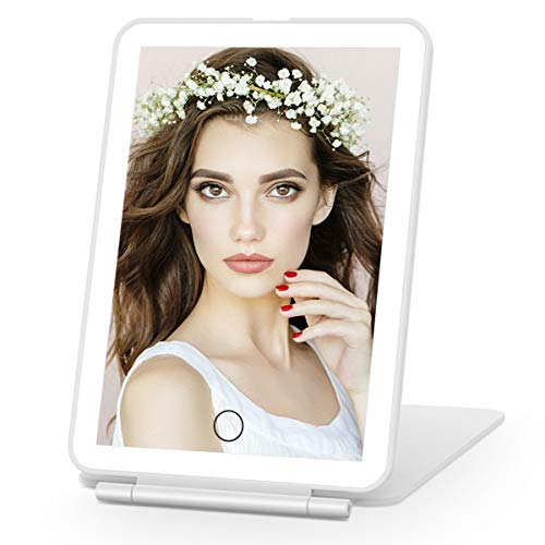 COSMIRROR Rechargeable Lighted Makeup Vanity Mirror with 36 LED Lights, Light Up Makeup Mirror with Touch Sensor Dimming, Portable Tabletop Cosmetic Mirror (White)