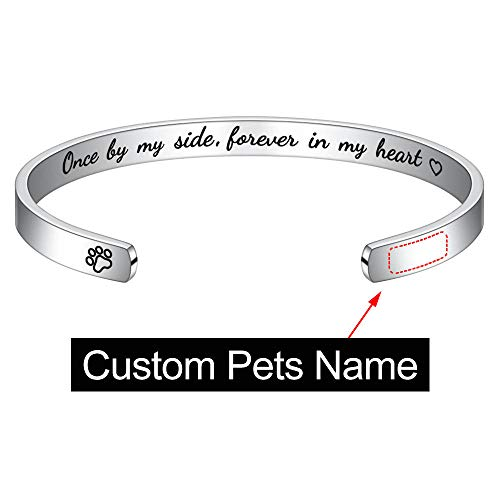 M MOOHAM Personalized Dogs Name Memorial Bracelet - Custom Engraved Pets Name Sympathy Gifts for Dogs Memorial Jewelry Sympathy Gift for Loss of Pet Bangle Bracelet