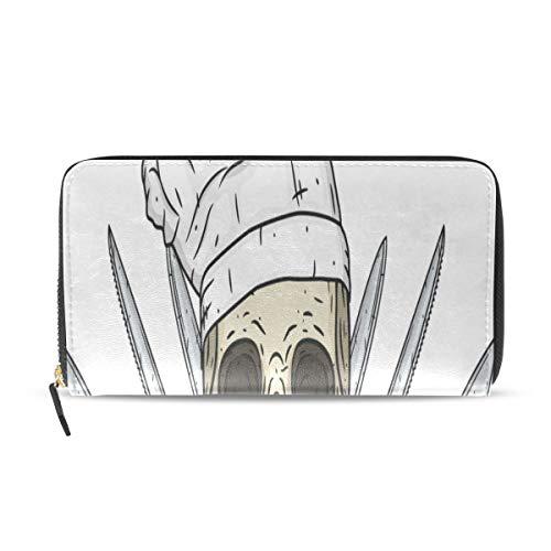 Cartoon Schädel Toque Messer Lange Pass Kupplung Geldbörsen Reißverschluss Brieftasche Fall Handtasche Geld Veranstalter Tasche Kreditkarteninhaber Für Dame Frauen Mädchen Männer Reise Geschenk