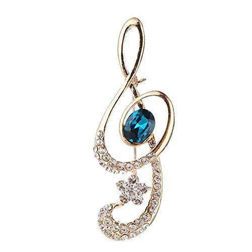 Vioness - Broche para mujer o niña, aleación y notas musicales, diseño de clave de sol, cristal azul y circonita, accesorio para ropa