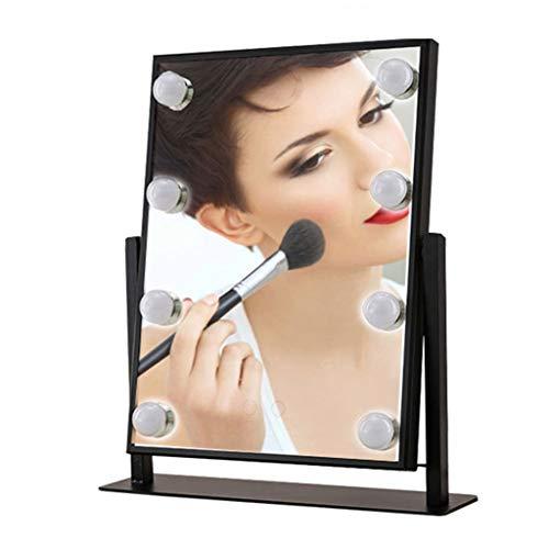 Miroirs Grand De Maquillage Recto-Verso De Maquillage De Bureau D'artefact Professionnel avec Le Dressage D'ampoule LED De Commode (Color : Black, Size : 30 * 36 * 8cm)