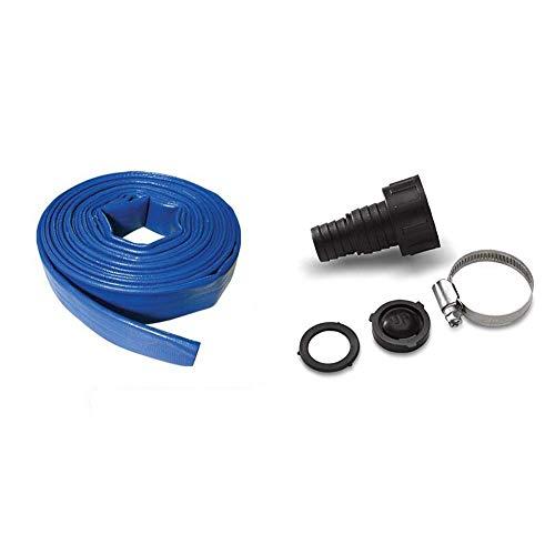 """Silverline 633827 Manguera Plana para Descarga de Agua (10 m x 25 mm) + Kärcher Adaptador manguera succión 3/4"""" y 1"""" (6.997-359.0)"""