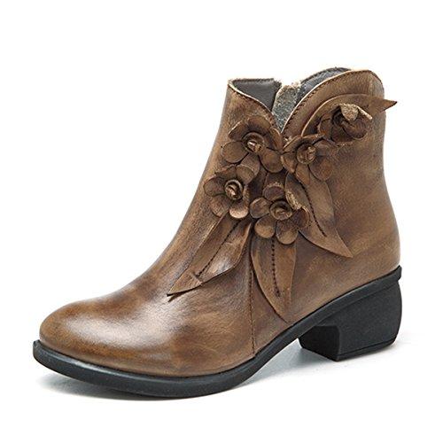 Socofy Damen Kurzschaft Stiefel, Leder Stiefeletten mit Absatz Klassische Ankle Boots Blume Winter Kurz Stiefel Schuhe Handmade Chukka Lederschuhe Schwarz - Vergriffen, Nicht mehr produziert