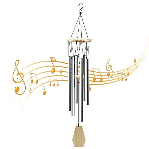 AvoDovA Carillon Vento, 80CM Sonaglio a Vento Metallo, Scacciaspiriti in Legno per Esterni, Campanelli a Vento, Campane Musicali, Scacciapensieri tubolari da Esterno Decorazione per Esterni Giardino