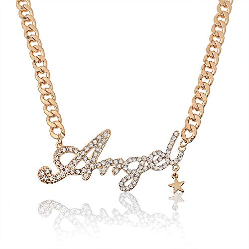 Rhinestone Charm Classic Letters Alphabet Pendant Long Necklace for Women.(Boss-GOLD) (angel-G)
