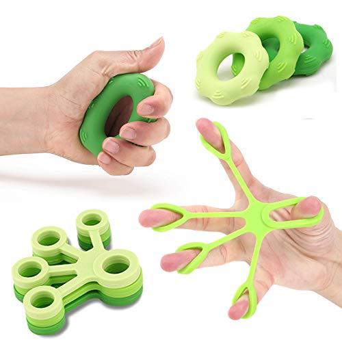STRLONG Handmuskeltrainer & Fingertrainer 6er Set,Handtrainer Ring & Unterarm Trainingsgerät aus Silikon für bessere Fingerkraft, Handkraft & Griffkraft (6 Pack)