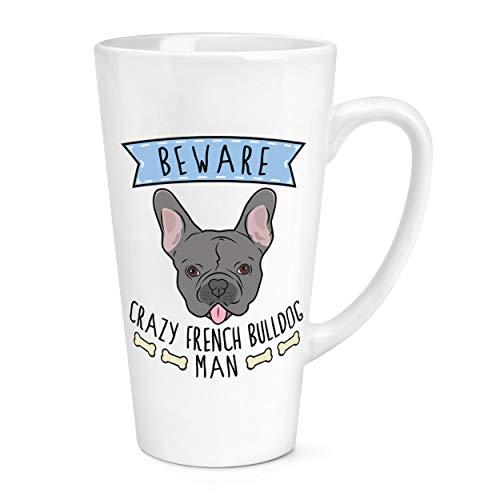 Attention Crazy Bouledogue Français Homme 17oz Large Latte Tasse Mug