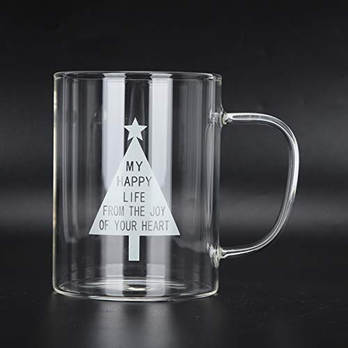 Taza de leche transparente de 350 ml, taza de café, té, vasos de vidrio con asa para cocina, oficina, regalo de cumpleaños(A)