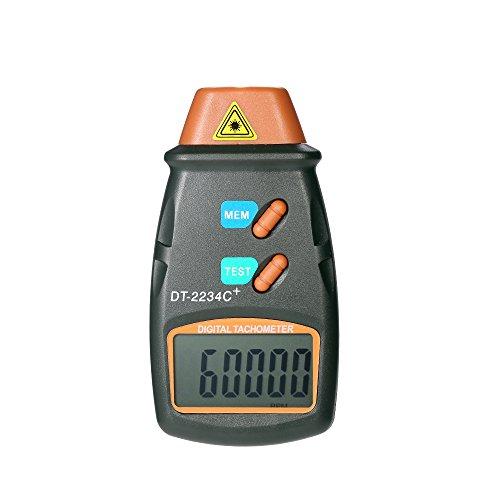 KKmoon Tachometer Drehzahlmesser【mit LCD Bildschirm und 3 Stück Reflexstreifen/Laser Berührungslos Motorgeschwindigkeitsmesser/Messbereich 2.5 RPM 99.999 RPM/Dunkelgrau】
