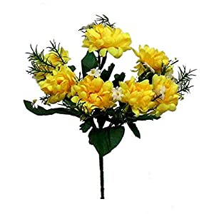 Floral Décor Supplies for 7 Mini Mums Artificial Bush Silk Flowers Fall Bouquets Faux Fake Chrysanthemums for DIY Flower Arrangement Decorations – Color is Yellow