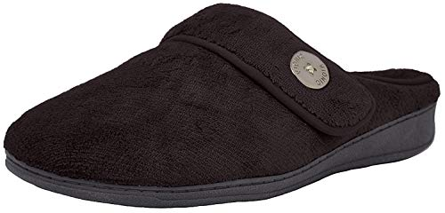 Vionic Women's Indulge Sadie Mule Slipper- Comfortable Spa House Slippers That Include Three-Zone Comfort with Orthotic Insole Arch Support, Soft House Shoes for Ladies Black 10 Medium US
